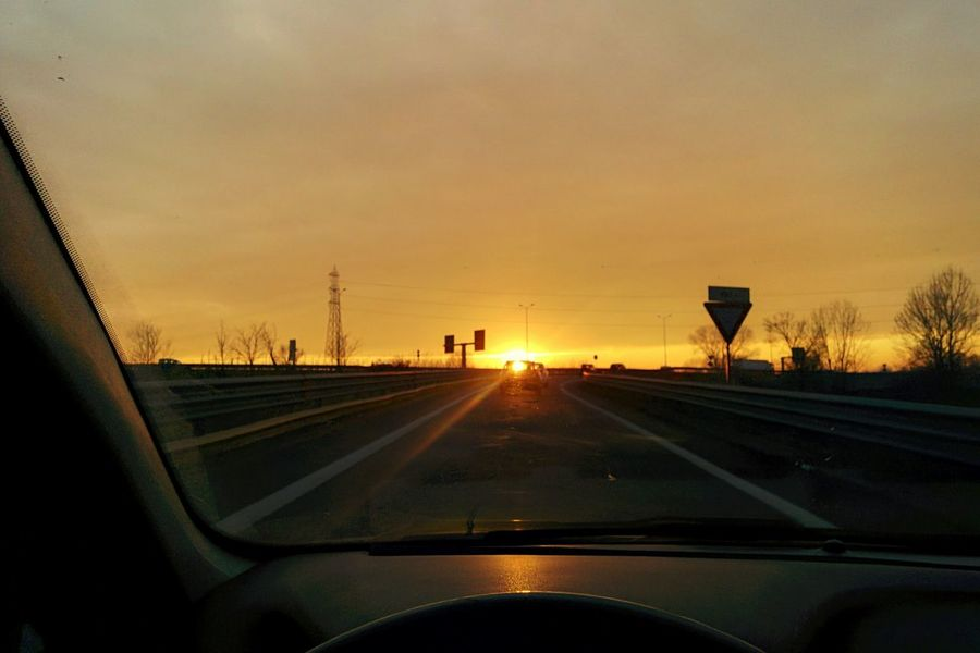 Highway to the sun Cool Day Outdoors No People Cloud - Sky Miles Away Still Life Italy Sunset Cars Driving The City Light