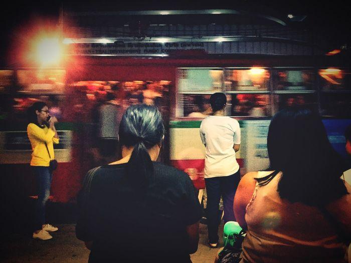 Time to jam Redbus Bangkok Thailand. Bangkok Thailand. Bangkokbus Asianwoman Group Of People Real People Group Men Medium Group Of People Night Lifestyles Women Adult People Crowd City Architecture Illuminated Transportation