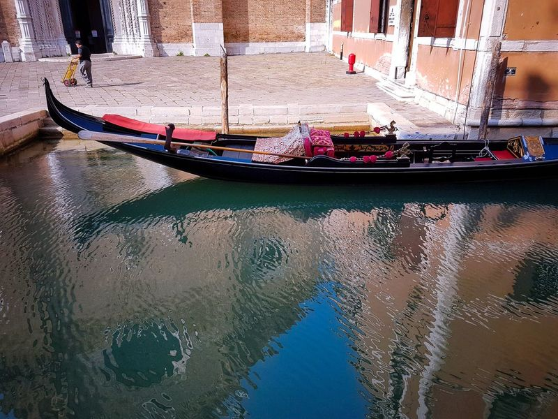 Water Day Transportation Architecture Nautical Vessel Outdoors Gondolas Canals Water Ripples Churches Santa Maria Gloriosa Dei Frari Reflections Shadows Venezia Italy Polygonal Composition