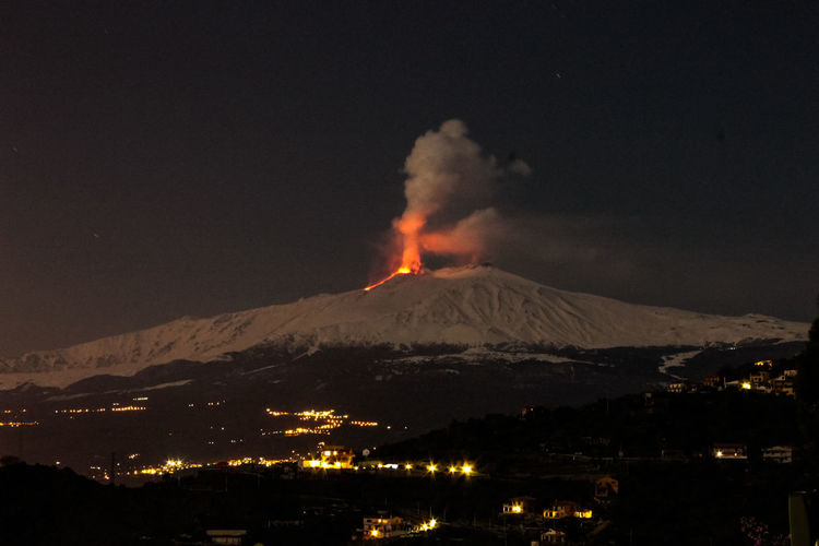 Mountain Volcano Smoke - Physical Structure Night Erupting Geology Power In Nature No People Power Sky Landscape Environment Beauty In Nature Scenics - Nature Land Nature Active Volcano Illuminated Outdoors Architecture Volcanic Crater Snowcapped Mountain Mountain Peak