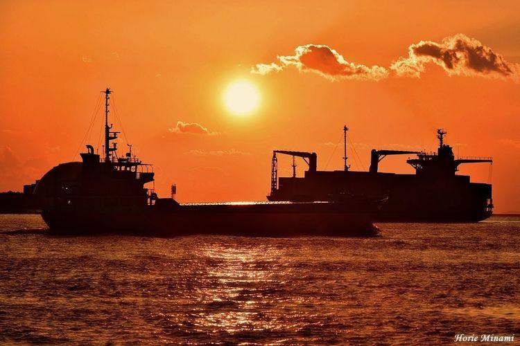 EyeEm Selects EyeEm Best Shots EyeEm Gallery Sunset Orange Color Silhouette Transportation Water Mode Of Transport Nautical Vessel Beauty In Nature Sun Sea