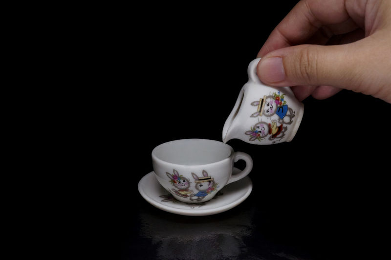 Black Background Close Up Cup And Saucer Jug Light Box Light Tent Low Key Miniature Play Still Life