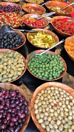 Abundance Bowls Colourful Food Freshness Fruit Large Group Of Objects Market Mediterranean  Olives Table Olives