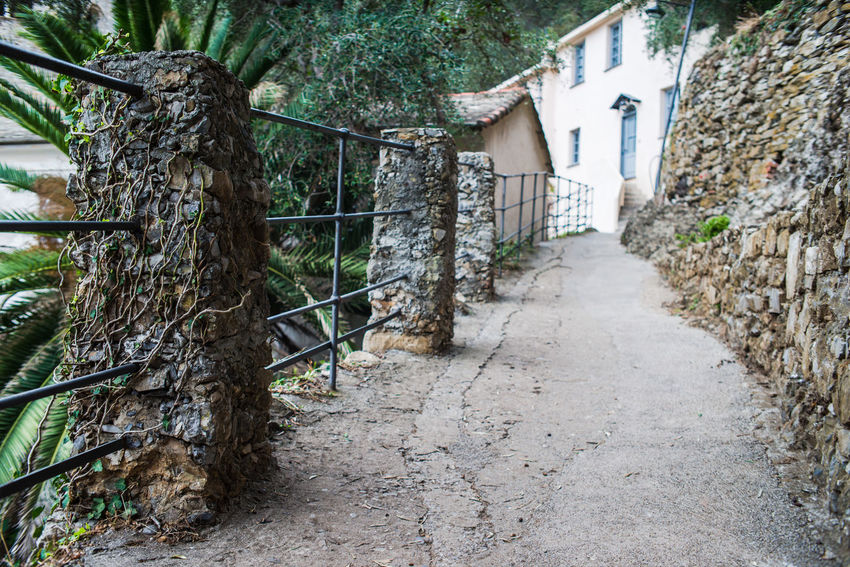 Hiking Perspective San Fruttuoso Di Camogli Adventure Architecture Building Exterior Built Structure Day No People Outdoors Promontory Railing Steps The Way Forward Tourism Tree
