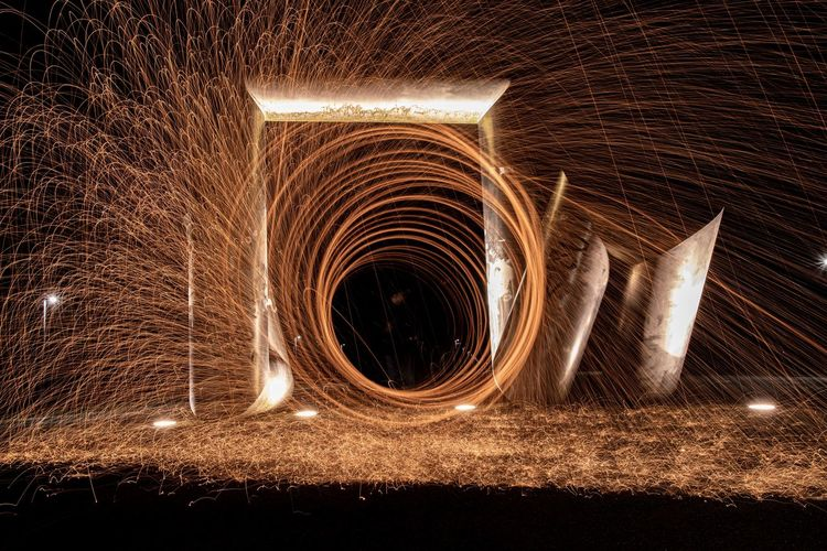 Blurred motion of light painting on night