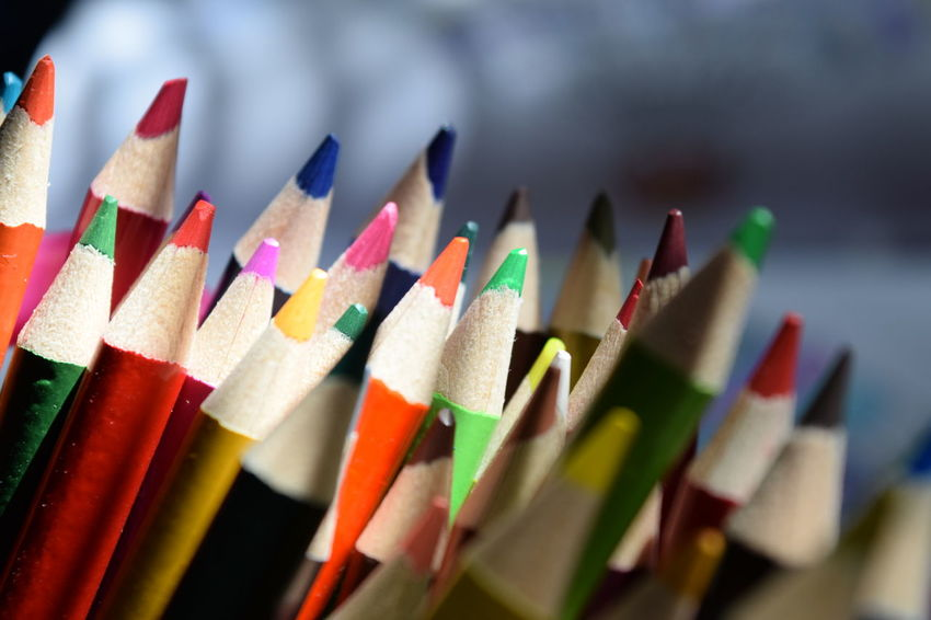 Art And Craft Choice Colored Pencil Colorful Creativity Focus On Foreground In A Row Large Group Of Objects Multi Colored No People Variation Sunlight And Shadow Sunlight Only By The Window