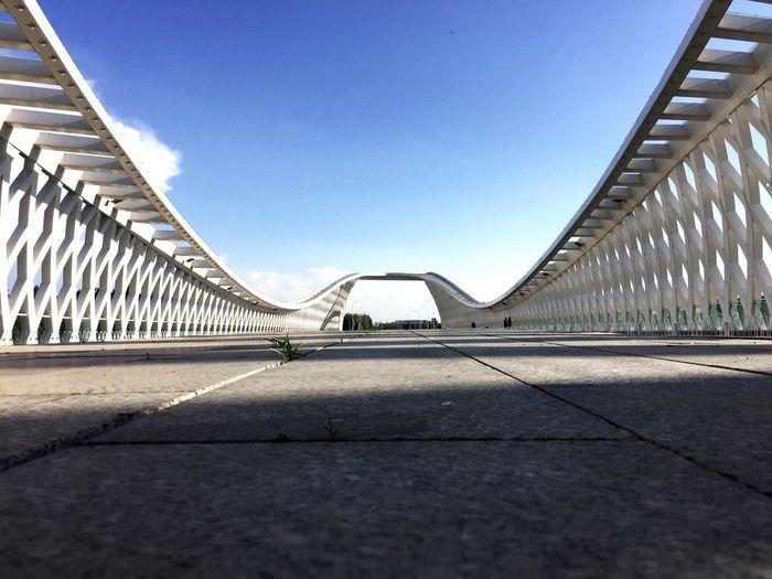 View of modern bridge against sky
