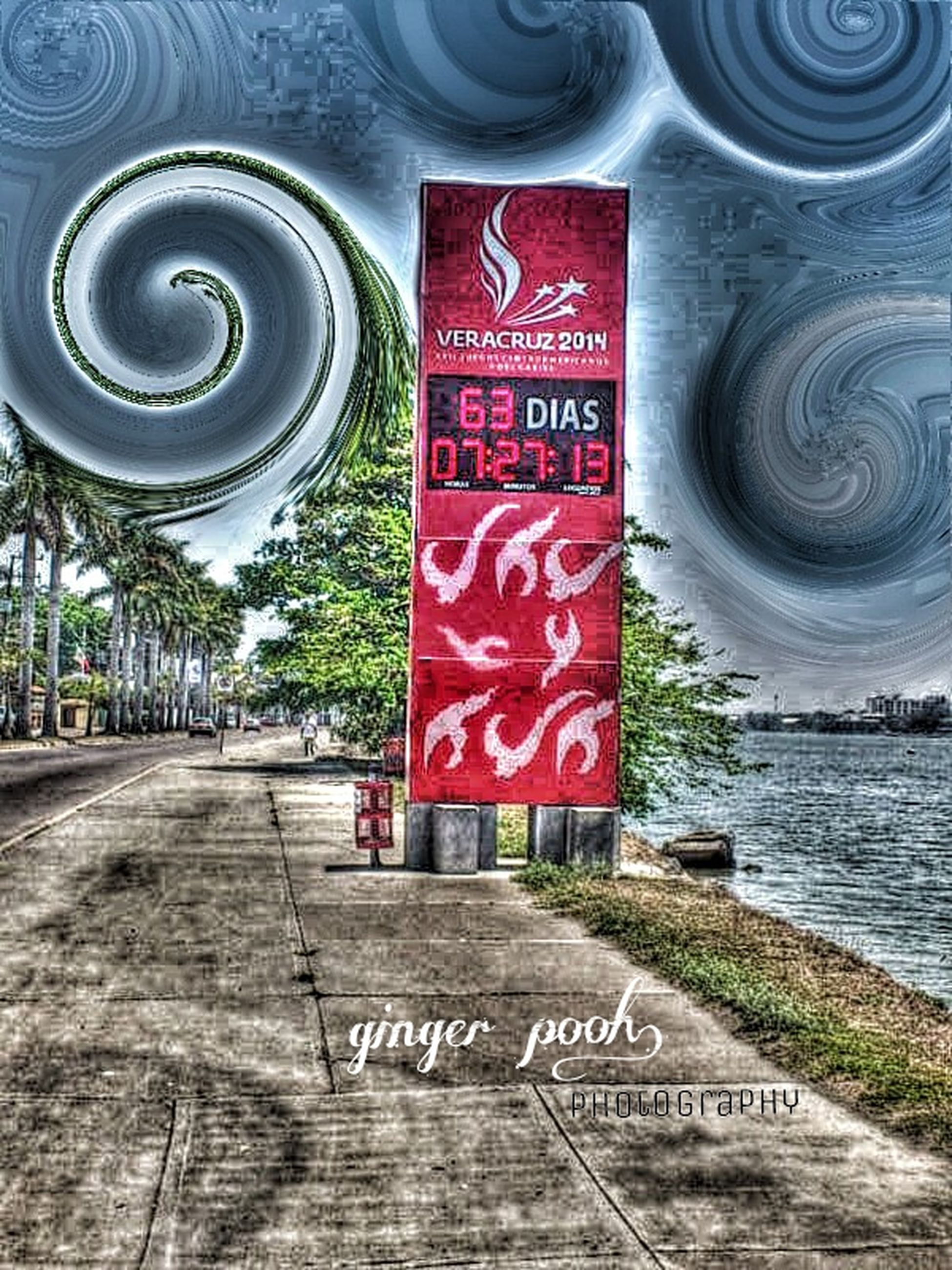 text, western script, communication, sign, information sign, capital letter, non-western script, water, guidance, day, number, no people, outdoors, information, warning sign, built structure, transportation, the way forward, high angle view, red