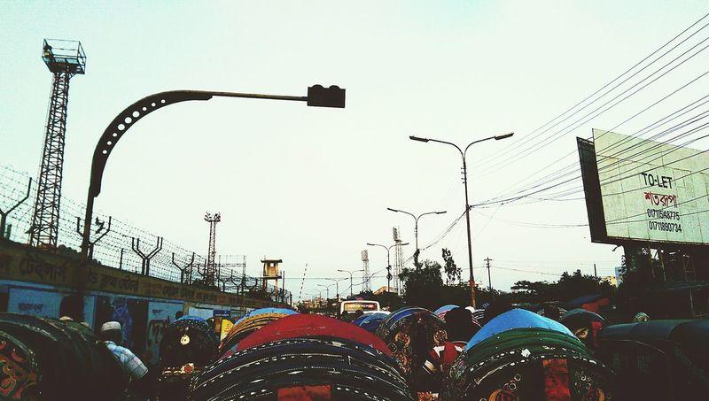 City Life Traffic Jam Falling Sun
