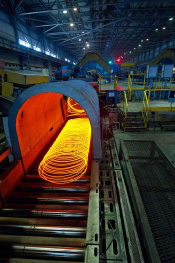 Illuminated Metal On Equipment In Factory