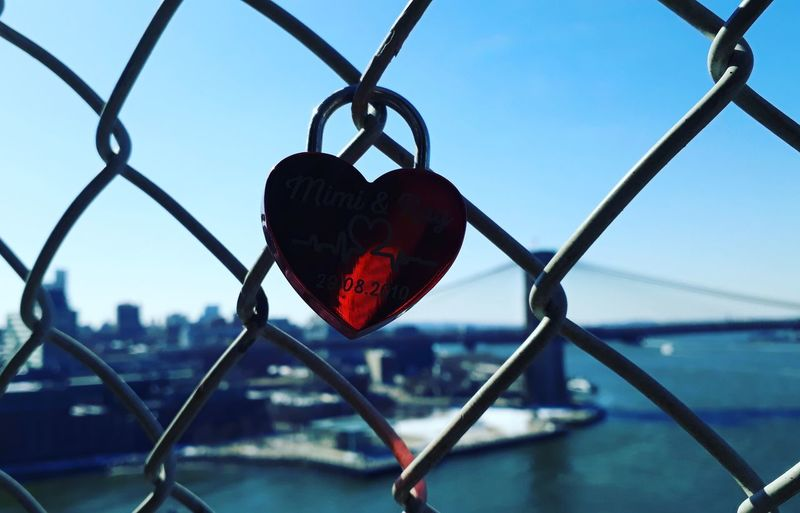 Newyorkcity New York New City Water Cityscape Exclusion Protection Red Safety Heart Shape Metal Chainlink Fence Padlock Latch My Best Photo