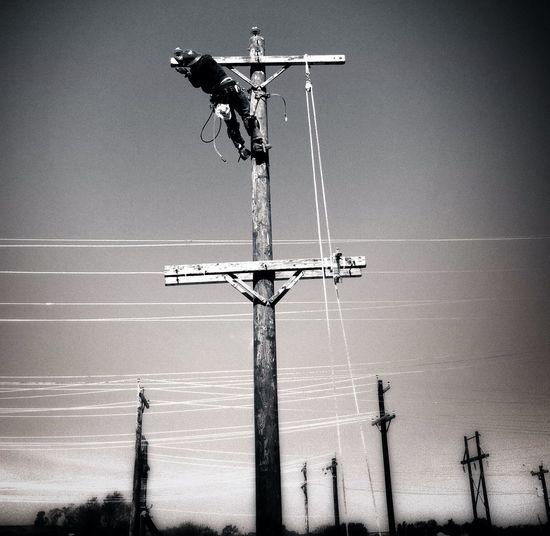 Utility linemen rodeo Blackandwhite