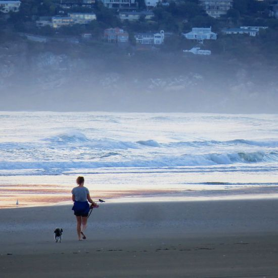 Sea Water Beach One Person Horizon Over Water Sky Full Length Leisure Activity Nature Day Standing Outdoors Real People Beauty In Nature Scenics Vacations Wave Young Adult People Walking With My Dog Foggy Foggy Morning Newzealand Morning Walk