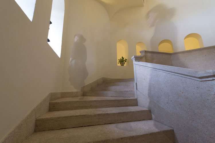 Low Angle View Of Ghost On Staircase