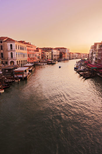 Canal Grande (Grand Canal) in Venice, Italy, at sunset Venice, Italy Venice Venezia Italy City Cityscape Travel Travel Destinations Landmarks Canal Grande Grand Canal Sunset Sky Architecture Building Exterior Canal Building