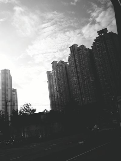 Monochrome Photography City Architecture Cloud - Sky Outdoors Road Day City Life Built Structure Urban Skyline Morning Busview