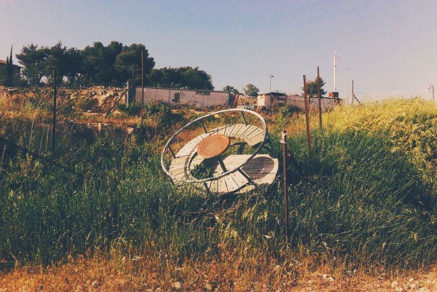 UFO Objects Round Flying Saucer Playground Landscape Israel Settlement