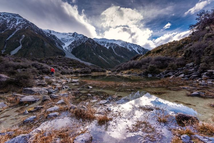 Mount Cook Snow Water Tranquility Nature Winter Cold Temperature Day Non-urban Scene Environment Snowcapped Mountain Landscape