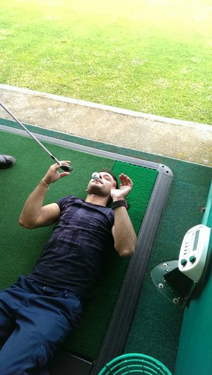 What Could Possibly Go Wrong ;) Accidentwaitingtohappen playing Golf ended up clipping his nose Ooops lol
