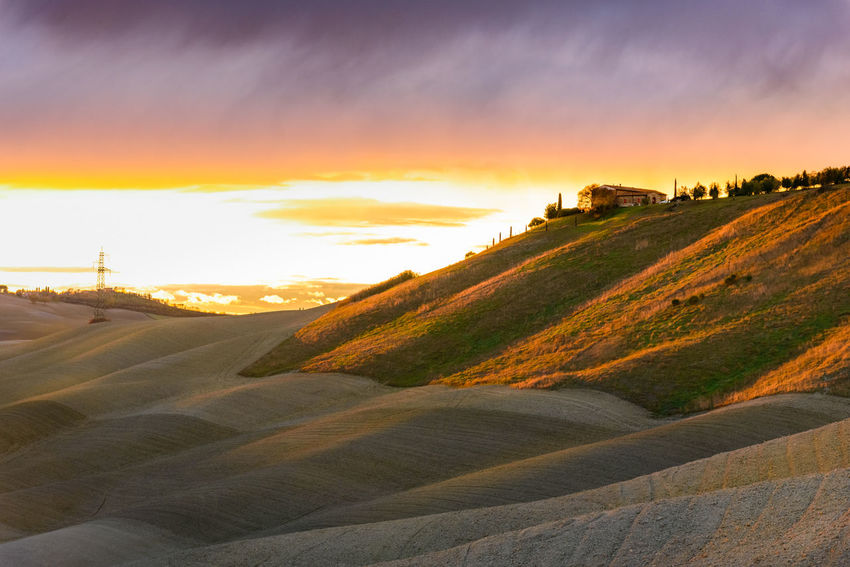Last days of autumn Crete Senesi Torre A Castello Tuscany Tuscany Countryside Architecture Beauty In Nature Built Structure Cloud - Sky Day Landscape Nature No People Outdoors Scenics Siena Sky Sunset Tranquil Scene Tranquility Travel Destinations
