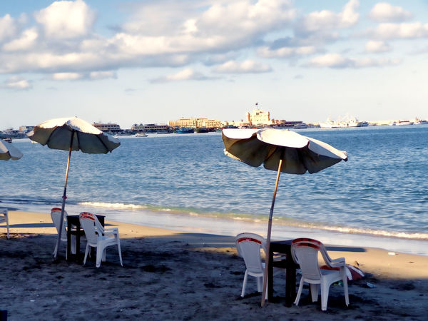 Alexandria Egypt Beach Beach Umbrella Chair Cloud - Sky Day No People Outdoors Parasol Sand Sea Sky Sunshade Vacations Water