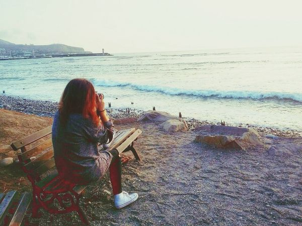 Sea Beach Sitting Lifestyles One Person Horizon Over Water Beauty In Nature Photooftheday EyeEm Best Shots Fine Art Photography First Eyeem Photo Another Point Of View EyeEmBestPics EyeEm Gallery Sunset Beachphotography
