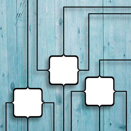 Three square connected frames on aqua wooden background Picture Frame Square Aqua Backgrounds Blue Board Close-up Connected Cyan Frame Linked No People Photo Frame Technology Three Wood - Material Wooden