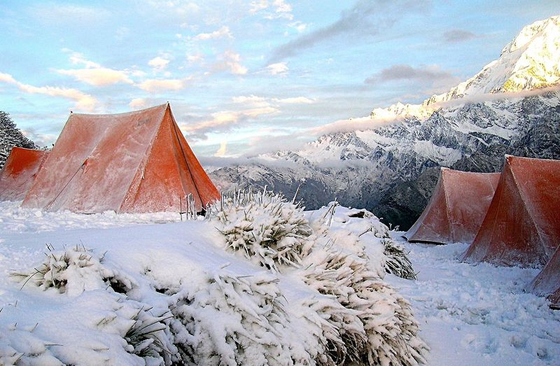 Outdoors Snow Tents Winter Wonderland Cold Winter Himalayas Camping Out Camping Nepal Annapurna No People