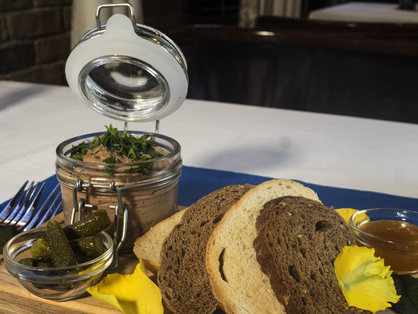 Fresh pate with bread on wooden board Board Bread Brown Bread Close-up Day Food Food And Drink Fresh Freshness Healthy Eating Indoors  Jar No People Pate Table Wooden
