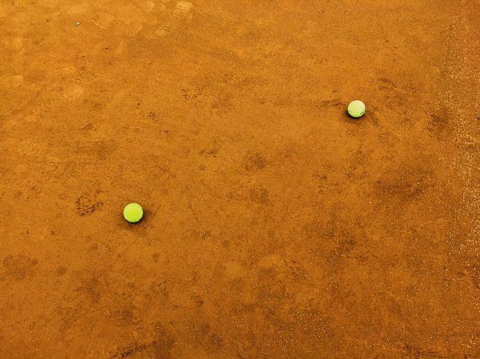 High angle view of yellow ball