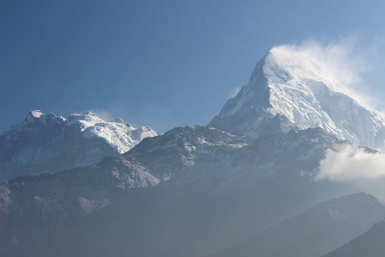 Winter Mountain Snow Cold Temperature Snowcapped Mountain Beauty In Nature Nature Majestic Tranquility Non-urban Scene Tourism Mountain Peak Travel Destinations Blue Blue Sky Mountain Range Annapurna Annapurna Range Himalayas Himalayan Range Eyeemnepal Tranquil Scene Idyllic Scenics Tourist Attraction