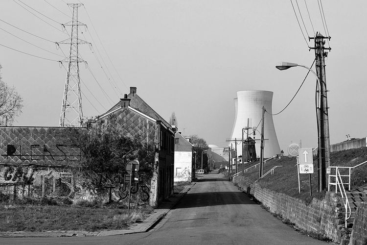 Architecture Black & White Blackandwhite Built Structure Cable Clear Sky Connection Day Doel Electricity  Electricity Pylon Ghost Town Nikon No People Nuclear Outdoors Power Line  Power Supply Sky Technology