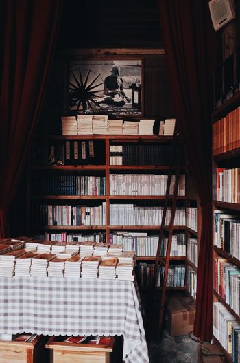 View of books on table in building