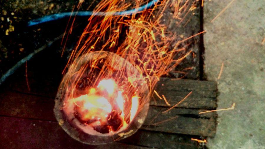 Close-up of burning leaf