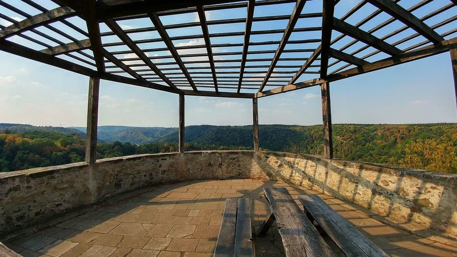 Enjoy the view Bank Construct Of Wood And Metal Day Europe Falkenstein Germany Harz Holidays Landscape Nature No People Outdoors Pause Pavilion Relax Sightseeing Sky Travel Destinations Traveling Viewpoint Wood