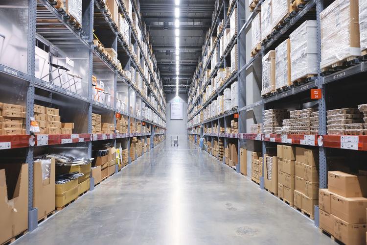 View of corridor in warehouse