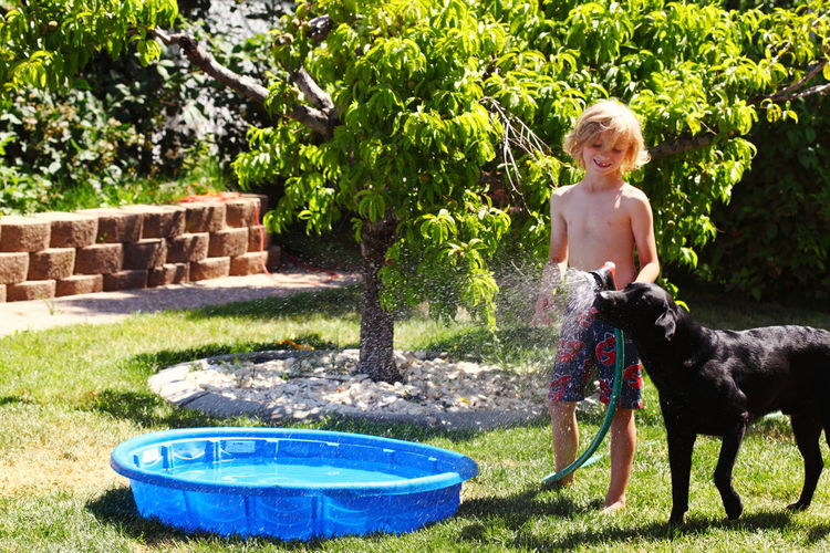 Shirtless Boy Holding Spray While Standing With Dog In Back Yard