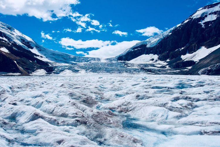 View from the surface of the Athabaskan Glacier in the Canadian Rockies EyeEm Selects Snow Cold Temperature Beauty In Nature Mountain Winter Nature Tranquil Scene Sky Scenics Tranquility Ice Cloud - Sky Glacier Frozen Outdoors Day