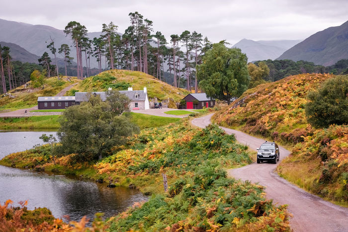Glen Affric Scotland Architecture Autumn Beauty In Nature Built Structure Change Cloud - Sky Day Mode Of Transportation Mountain Nature No People Outdoors Plant Road Scenics - Nature Sky Tranquility Transportation Tree Water