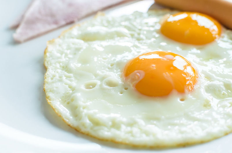 Breakfast. Breakfast Close-up Egg Egg Yolk Food Food And Drink Freshness Fried Fried Egg Healthy Eating Indoors  Indulgence Meal No People Plate Ready-to-eat Still Life Sunny Side Up Temptation Wellbeing Yellow