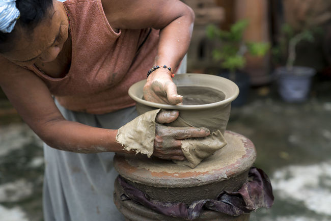 Artist Dirty Form Molding Shape Tradition Vase Woman Art Art And Craft Backgrounds Clay Craft Handicraft Handmade Jar Making Manufacturing Mud Occupation Pottery Skill  Traditional Village Working