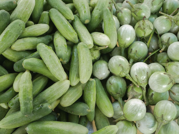 Cucumbers Green Thai Eggplant Abundance Backgrounds Close-up Food For Sale Freshness Full Frame Healthy Eating Heap Market Market Stall Sale Vegetable