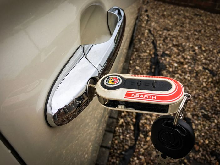🔑 🔑 No People Outdoors Day Close-up Abarth Abarth595 Abarth 500 AbarthOnly AbarthLogo Key Keys Car Cars Carkey Carkeys Car Keys Key To My Heart Key To Happiness Car Door Door Handle Photography Land Vehicle Transportation Taken On IPhone 6s Taken On Mobile Device
