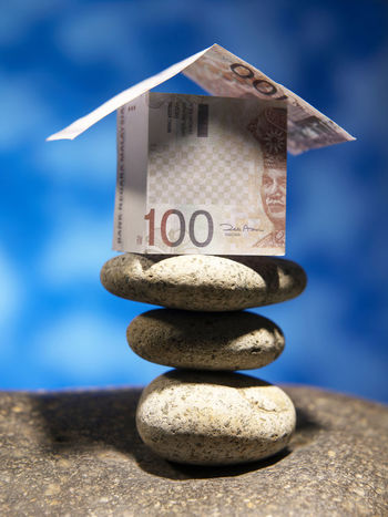financial item cash Currency House Shape Balance Blue Cash Dollar Expenses Finance House Investment Model House Money No People Property Real Estate Savings Sky Stack Wealth