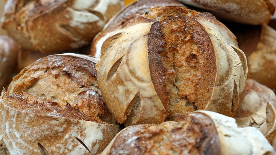 Close up view of fresh baked bread