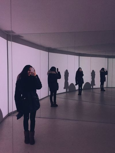 Visual Effects Grunge Tumblr Mirrors Reflection Group Of People Indoors  Real People Full Length Women Adult People