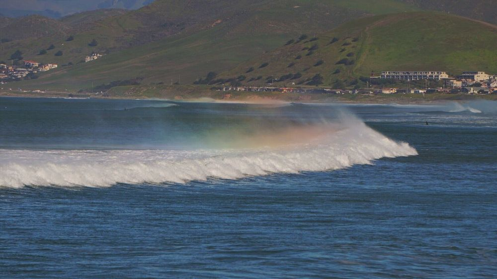 Beauty In Nature Scenics Nature Water Beach Photography Motion Morro Bay Beach Waves Ocean Spray Mist Ocean Rainbow Nature Adapted To The City Sea Outdoors