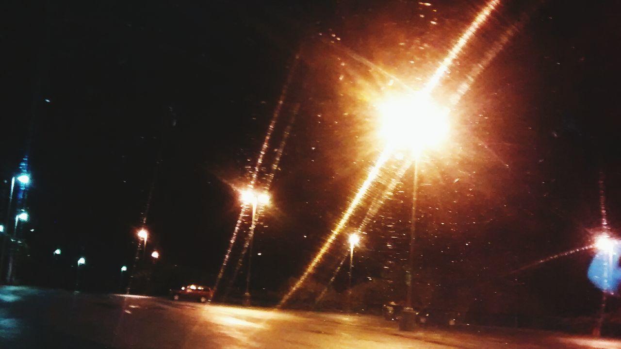 night, illuminated, lens flare, no people, transportation, outdoors, motion, road, sky