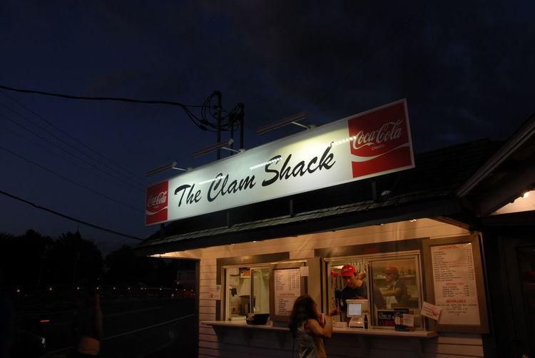Information sign in restaurant at night