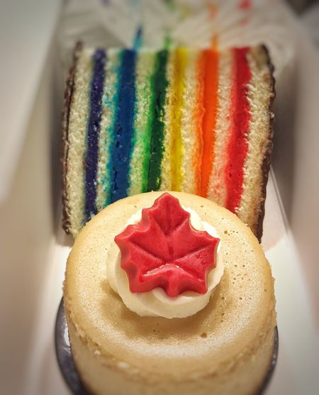 Rainbow Slice Maple Cheesecake Dessert Box Desserts! Dessert Always Room For Dessert Indulgence Sweet Food Sweet Treats  Food And Drink Ready-to-eat Love On A Plate Food Food Photography Colorful Food IPhone Photography Yummy In My Tummy Rainbow Food Rainbow Multi Colored Let Them Eat Cake Cake Rainbow Cake Granville Island Granville Island Public Market